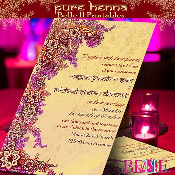 henna wedding card design