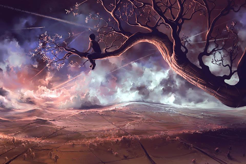 surreal digital painting tree